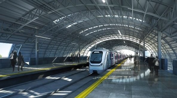 Two 3coach metro trains arrive at Taloja Depot